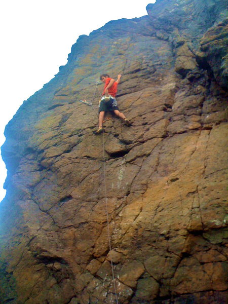Rock Climbing Photo: Half-way up on the first ascent of Burd's Eye View...