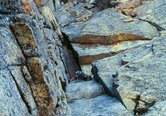 Rock Climbing Photo: Joe Ebert just below the chimney