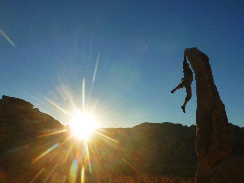 Cory Donavon cutting loose on Aiguille de Joshua Tree (5.5 X) at sunset