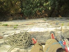 Rock Climbing Photo: Paul Deagle - Frogs Head 5.6 looking down first pi...
