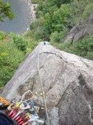 Rock Climbing Photo: Paul Deagle - Tileman's Arete looking down second ...