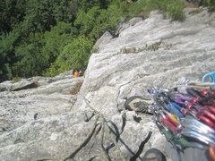 Rock Climbing Photo: Classic 5.7, looking back down on the second pitch