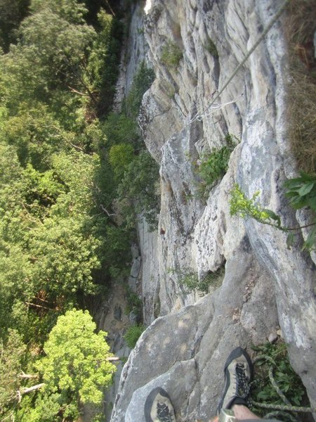 Paul Deagle - Madam G's Final Pitch looking down back at second belay