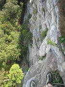 Rock Climbing Photo: Paul Deagle - Madam G's Final Pitch looking down b...
