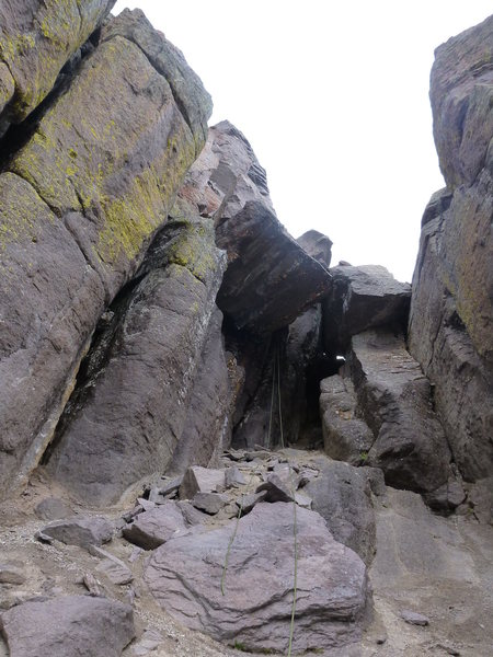 Rock Climbing Photo: Looking back at the cave and chockstone. This is n...