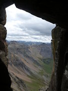 A window into the San Juans. This is the view from the start of the Rappel Route.