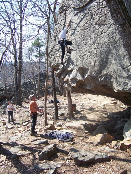 Rock Climbing Photo: Phil Watts above the crux on Newton County Metalit...
