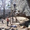 Phil Watts above the crux on Newton County Metality, HCR