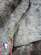 Rock Climbing Photo: Right leaning crack on first belay