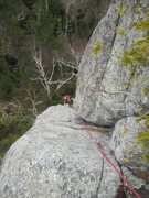 Rock Climbing Photo: Looking down the first pitch from the belay ledge