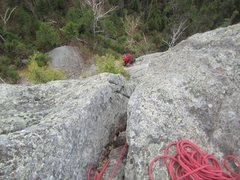 Rock Climbing Photo: Top of the chimney looking down
