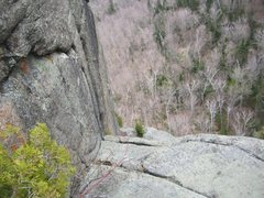 Rock Climbing Photo: Top of 4th pitch, to the left you can see the vari...