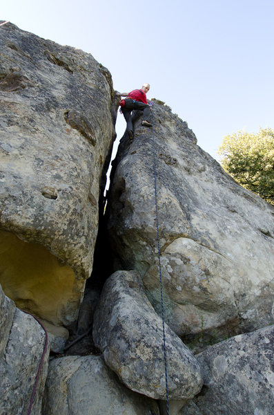 Ean finishes the off width on California Ridge.