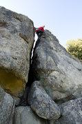 Rock Climbing Photo: Ean finishes the off width on California Ridge.