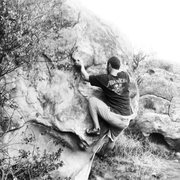 Rock Climbing Photo: Travis Franz going for the under cling