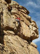 Rock Climbing Photo: Geir on the boltless FA.  This route can be lead s...