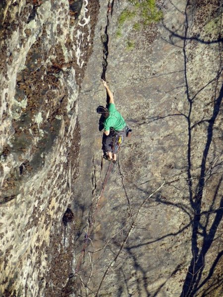 Rock Climbing Photo: Great climb!  Slabby crack awesomeness.