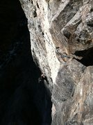 Rock Climbing Photo: Erik Rieger traversing on the 3rd pitch.