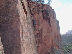 Rock Climbing Photo: Ryan Myers leading the Flake Route at the Practice...