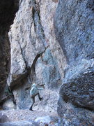 Rock Climbing Photo: this is a very dirty climb. but she needed to be s...