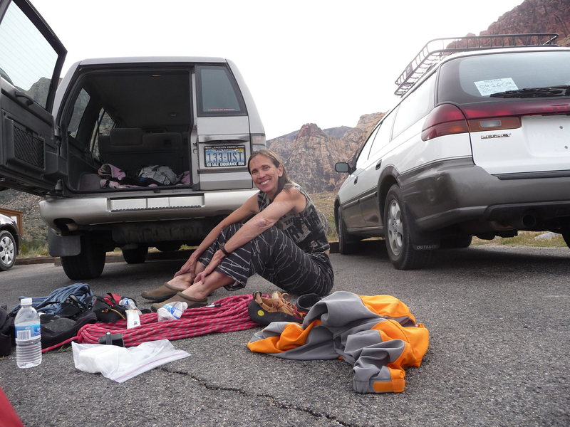 Joanne Urioste - Red Rocks.<br> <br> Been climbing with her for 36 years now.  And yeah, we&@POUND@39@SEMICOLON@re the same age.<br> <br> Climbed with her at City of Rocks and Castle Rocks, Idaho June 2016