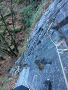 Rock Climbing Photo: Looking down at the first half of p2