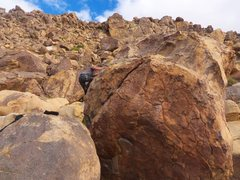 Rock Climbing Photo: 3/4 of the way done around the boulder, this spot ...