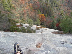 Rock Climbing Photo: Looking down from the P2 belay at the fall colors.