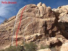 Climb the face, between Felix and Little Brown Jug