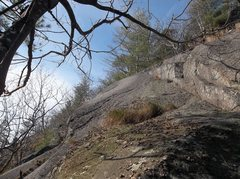 Rock Climbing Photo: Original start below the grass clump and the easy ...