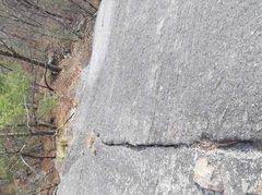 Rock Climbing Photo: On crack.