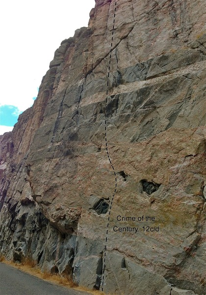 Rock Climbing Photo: Crime of the Century 5.12c/d.  Moves through the c...