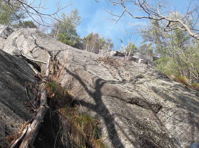 I started on the slab center right of the Biggest tree shadow. I went as this shadow goes right and then directly up left of lichen. I wanted to go up left but ended up too high, right of it, stuck. When I could the finish left.