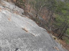 Rock Climbing Photo: Looking down at it from Jack O'Lantern's slab crac...