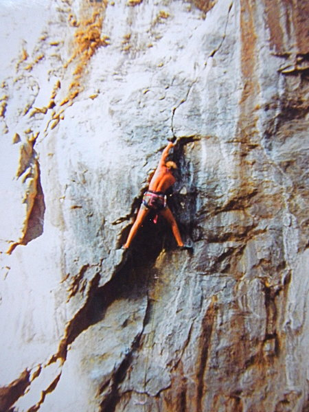 I believe this route is called Atlantis and is in the 5.11 range, photo circa 1992