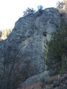 Rock Climbing Photo: Half Face in yellow and other anchors marked in re...