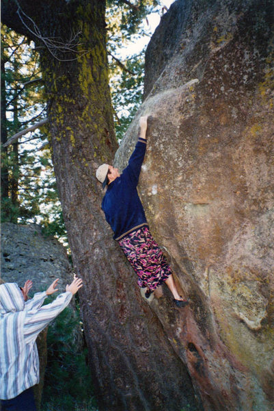 After a couple martinis, a couple cigarettes and  few beers, it's nearly impossible to fall off of anything but the wagon when you're dressed for the occasion.<br> <br> Steve Edwards, representing Santa Barbara bouldering style in the 90s.