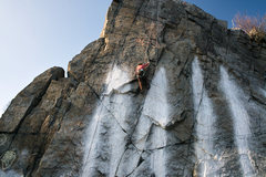 Rock Climbing Photo: Climber on Pins. POPT is the a couple of feet to t...