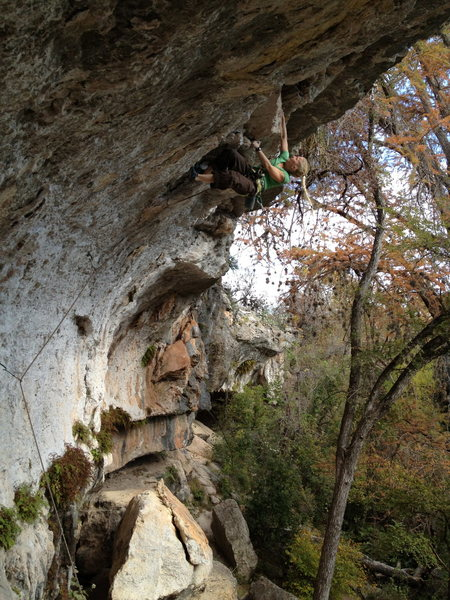 Rock Climbing Photo: Rachel on through the hard bit of Let Them Eat Fla...