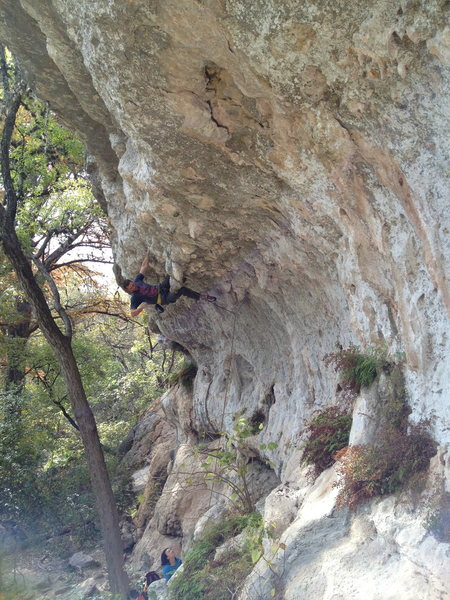 Rock Climbing Photo: MattNM kneebaring at the lip of the first roof on ...
