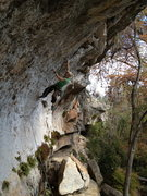 "Rock Climbing Photo: and up into the ""Flake"" she goes,"