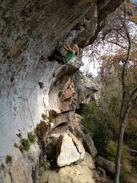 Rock Climbing Photo: Rachel making a weird cross clip in the middle of ...