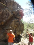 Rock Climbing Photo: Going for the top out on the V1 problem in the cen...