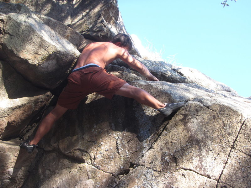 Rock Climbing Photo: Final moves on the right facing corner problem