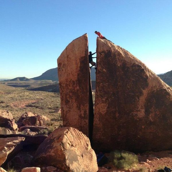 Working my first chimney climb with Andy motivating me from the top.