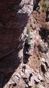 Rock Climbing Photo: Jimbo warming up, Geir belaying.