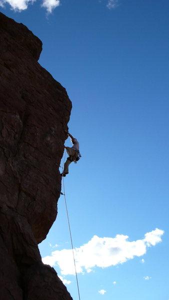 Rock Climbing Photo: Jimbo cranking through the crux.