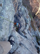 Rock Climbing Photo: Looking down from a belay above the first crux.  O...