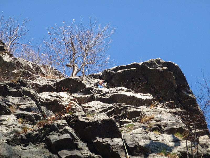 Me at the first pitch belay station on a nice november day.  This route gets nice sun till mid-afternoon.