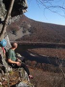 Rock Climbing Photo: Scott taking in the view on the belay ledge on Pus...